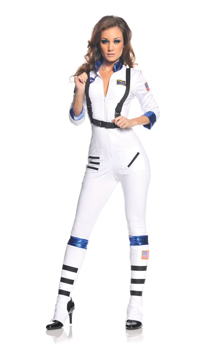 adult woman white astronaut costume the costume land. Black Bedroom Furniture Sets. Home Design Ideas