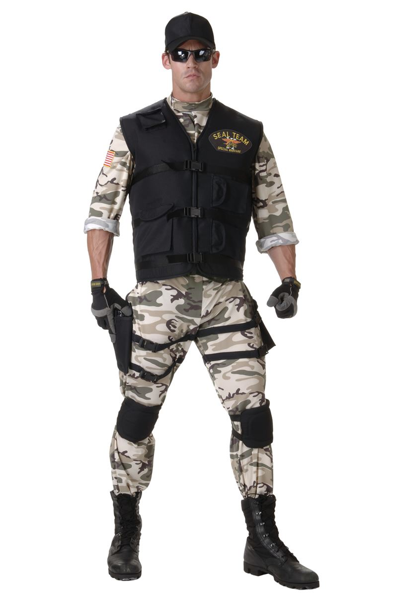 adult classic seal team men army costume - Halloween Army Costumes